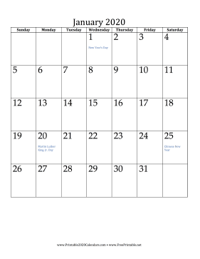 January 2020 Calendar (vertical) Calendar