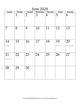 June 2020 Calendar (vertical) Calendar