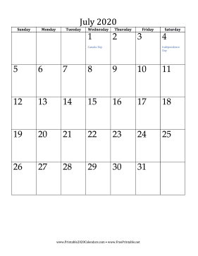 July 2020 Calendar (vertical) Calendar