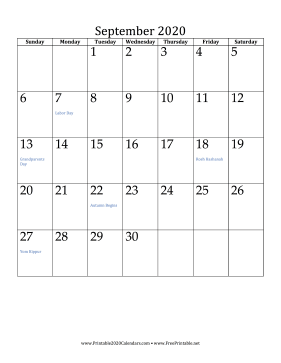 September 2020 Calendar (vertical) Calendar