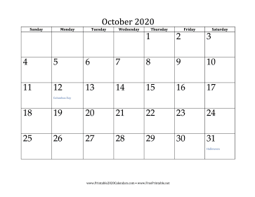 graphic about Printable 2020 Calendar known as Printable Oct 2020 Calendar