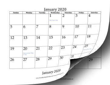 2020 Bottom Month Calendar