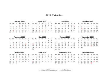 2020 Calendar One Page Horizontal Descending Holidays In Red Calendar