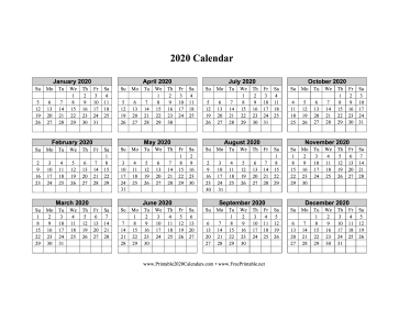 2020 Calendar One Page Horizontal Grid Descending Calendar