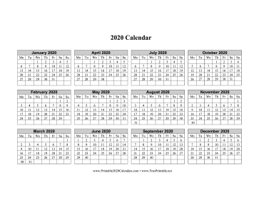 2020 Calendar One Page Horizontal Grid Descending Monday Start Calendar