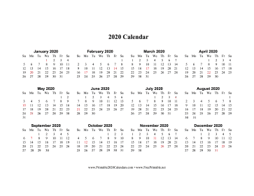 picture regarding 2020 Calendar Printable named Printable 2020 Calendar Just one Web site Horizontal Vacations Inside of Pink