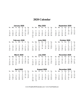 2020 Calendar One Page Vertical Descending Calendar