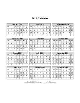 2020 Calendar One Page Vertical Grid Descending Monday Start Calendar
