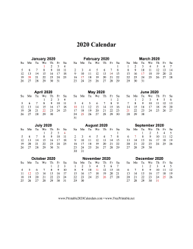 2020 Calendar One Page Vertical Holidays in Red Calendar
