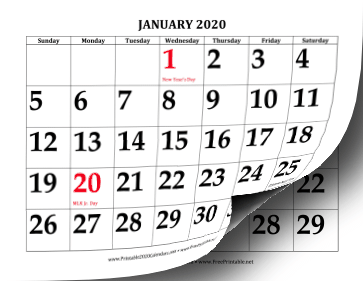image relating to Printable Calendar 2020 referred to as Printable 2020 Heavy Print