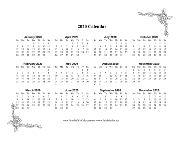 2020 One Page Calendar With Flowers Calendar
