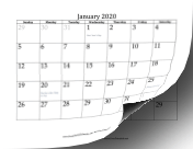 2020 with dates of adjacent months in gray