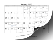 2020 with Checkboxes calendar